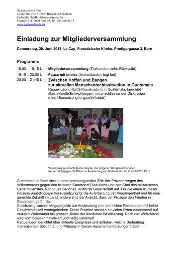Einladung zur Mitgliederversammlung - Guatemalanetz Bern