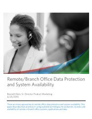 Remote/Branch Office Data Protection and System Availability