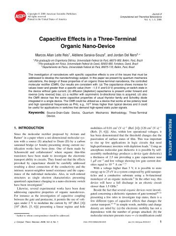 Capacitive Effects in a Three-Terminal Organic Nano-Device