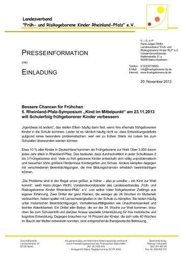 Bessere Chancen für Frühchen 5. Rheinland-Pfalz-Symposium ...