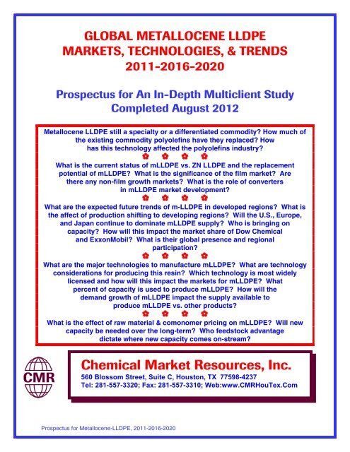 Chemical Market Resources, Inc  CMR