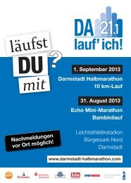 Sonntag, 1. September - Darmstadt Halbmarathon