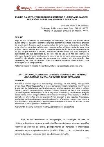 ENSINO DA ARTE, FORMAÇÃO DOS SENTIDOS E ... - anpap