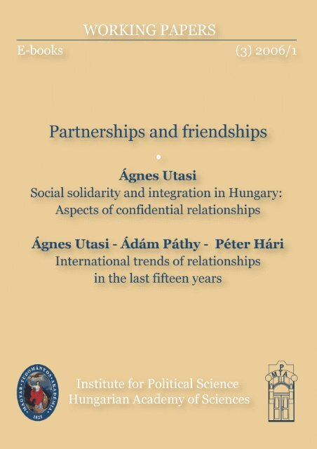 Social solidarity and integration in Hungary: Aspects of ... - MEK