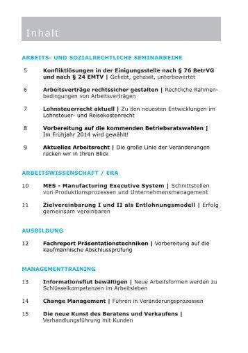 Seminarinhalte - Unternehmerverbände Rhein-Wupper