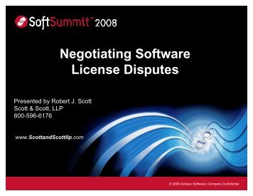 Negotiating Software License Disputes - SoftSummit