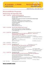 Wissenschaftliches Programm Donnerstag, 29. September 2011