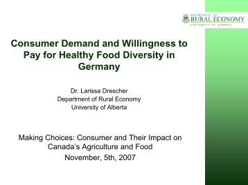 Consumer Demand and Willingness to Pay for Healthy Food ...