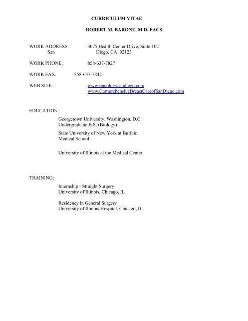 Download Dr  Barone's CV - Oncology Associates of San Diego