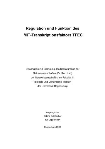 Regulation und Funktion des MiT-Transkriptionsfaktors TFEC