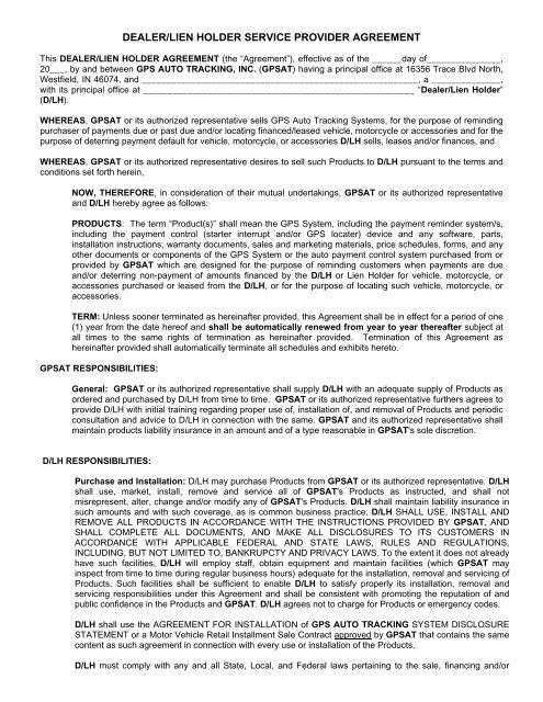 dealer/lien holder service provider agreement - GPS Auto