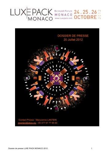 DOSSIER DE PRESSE 20 Juillet 2012 - Grimaldi Forum