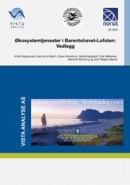 Økosystemtjenester i Barentshavet-Lofoten: Vedlegg - Norut