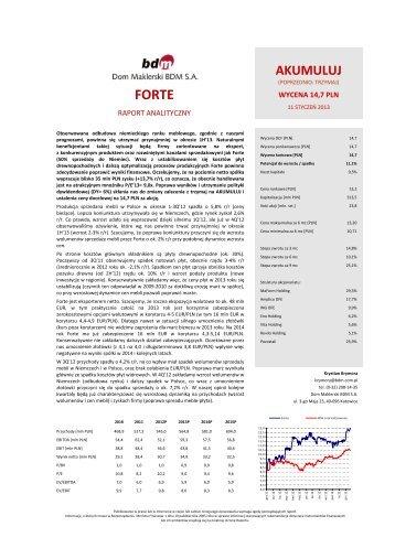 Forte - Akumuluj - Dom Maklerski BDM SA