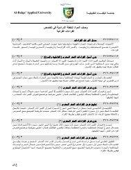 ﻓﻲ ﺘﺨ ﺼ ص و ﺼ ف اﻟﻤواد ﻟﻟﺨطﺔ اﻟدراﺴﻴﺔ اﻟﻘراءا ت اﻟﻘراﻨﻴﺔ - جامعة البلقاء التطبيقية
