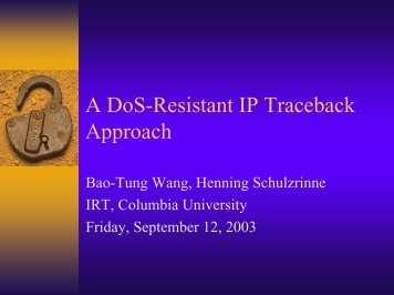 A DoS-Resistant IP Traceback Approach - Nyman-workshop.org