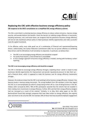CBI response to CRC consultation