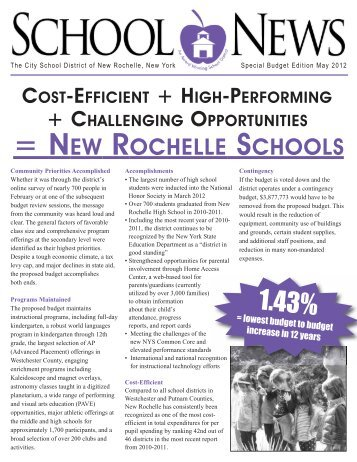 Special 2012-2013 Budget Edition of District Newsletter