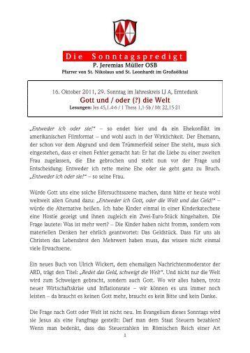 29. Sonntag im Jahreskreis - Martyria.de