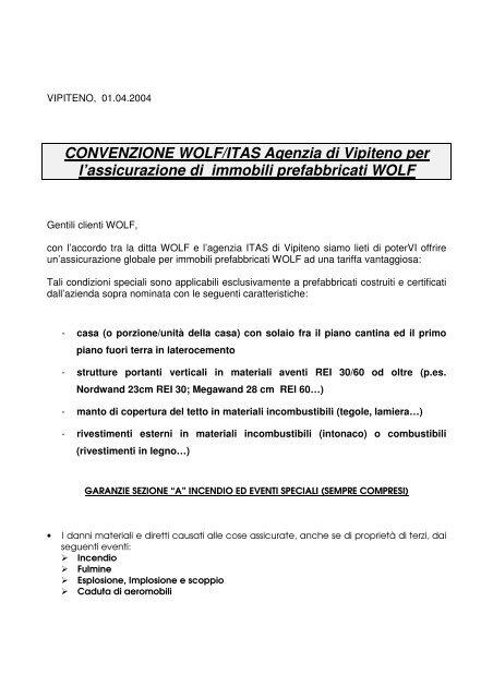 CONVENZIONE WOLF/ITAS Agenzia di Vipiteno per l ... - Wolf Haus