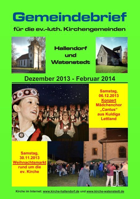 Ausgabe 12 / 2013 - Ev.-luth. Kirchengemeinden Hallendorf ...
