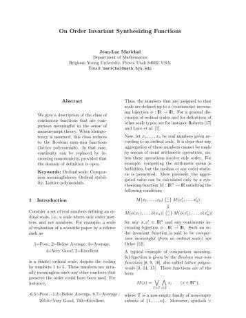 On Order Invariant Synthesizing Functions - Mathematics ...