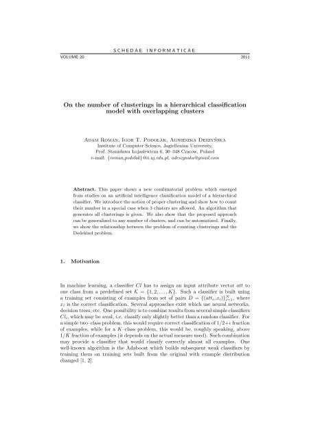 On the number of clusterings in a hierarchical classification model ...