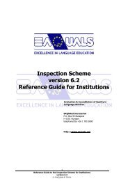 Reference Guide for EAQUALS inspections - Support