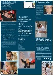 Flyer SwissSkills Bern 2014 - Gesundheitsberufe Bern