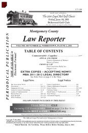 Montgomery County Law Reporter - Montgomery Bar Association