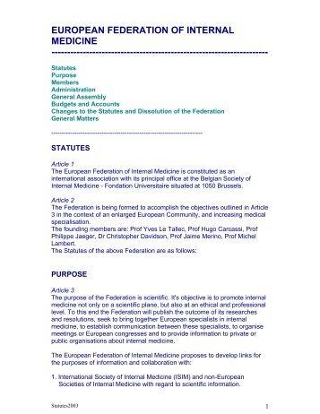 EUROPEAN FEDERATION OF INTERNAL MEDICINE ...