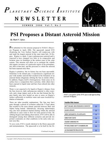Summer 2006 - Planetary Science Institute