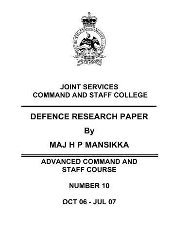Maj Mansikka - Defence Academy of the United Kingdom