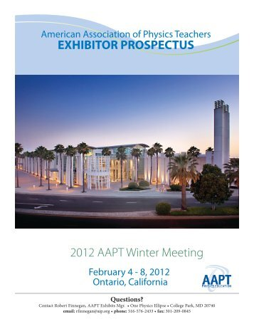 2012 AAPT Winter Meeting EXHIBITOR PROSPECTUS - American ...