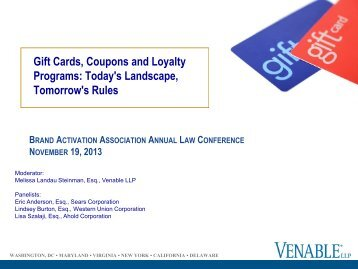 Gift Cards, Coupons and Loyalty Programs: Today's ... - Venable LLP