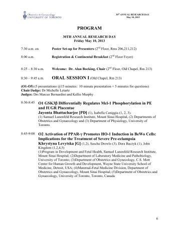 Research Day Full Program - University of Toronto Department of ...