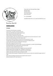 Wedding catering menu (hot food) - Thyme after time