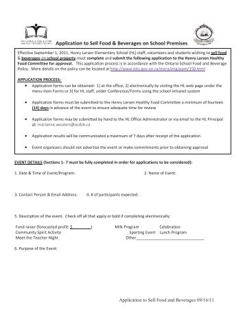 Application to Sell Food & Beverages on School Premises