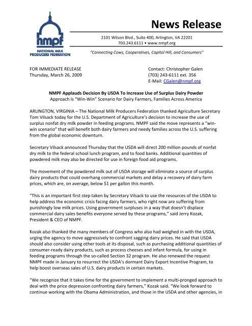 NMPF response to USDA dairy announcement 032609(2) pdf