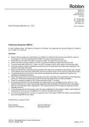 Preliminary Statement 2009/10 - Roblon A/S