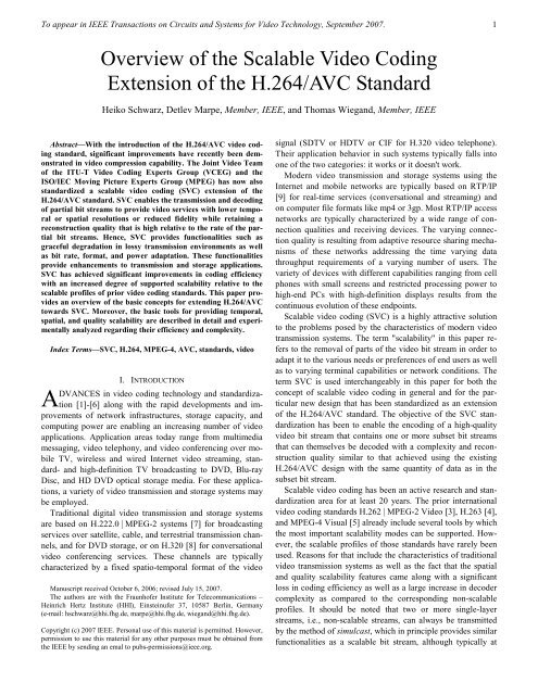 Overview of the Scalable Video Coding Extension of the H.264/AVC ...