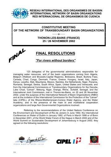 25 / 26 NOVEMBER 2002 FINAL RESOLUTIONS - INBO