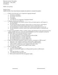 Macroeconomic Principles Third Exam —Fall 2005 ... - Casper College