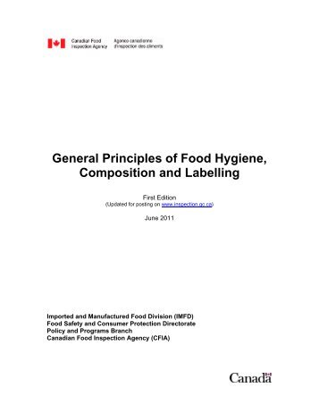 General Principles of Food Hygiene, Composition and Labelling