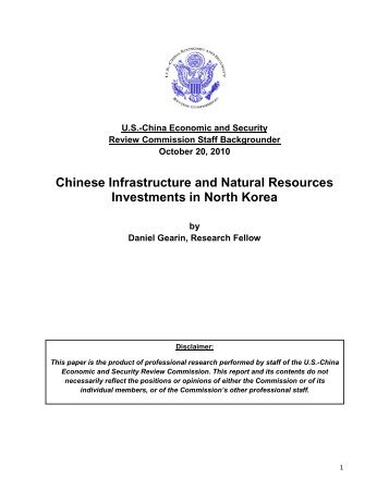 Chinese Infrastructure and Natural Resources Investments in North ...