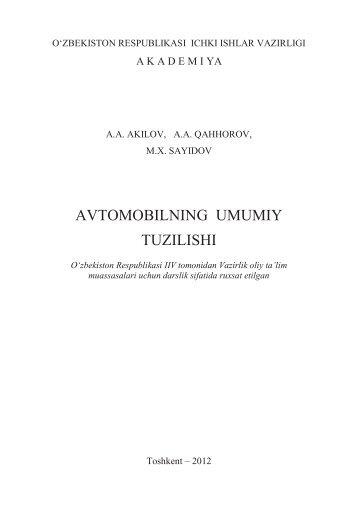 AVTOMOBILNING UMUMIY TUZILISHI