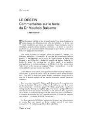 Le destin : commentaires sur le texte du Dr Mauricio Balsamo