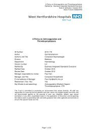A Policy on Anticoagulation and Thromboprophylaxis - West ...