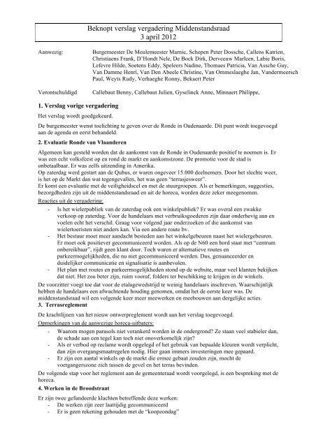 Beknopt verslag vergadering Middenstandsraad ... - Stad Oudenaarde