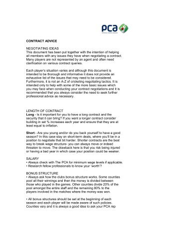CONTRACT ADVICE NEGOTIATING IDEAS This document has ...